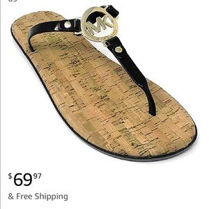 Womens MK Charm Jelly Sandal Black Gold Hardware